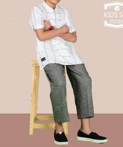 SAMASE 1566-02 KIDS SET PUTIH LIST HITAM KUNING
