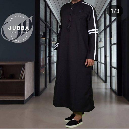 SAMASE 9180-05 JUBAH BIASA HITAM LIST PUTIH