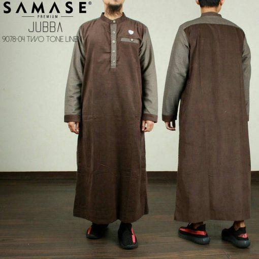 SAMASE 9078-04 JUBAH PREMIUM COKLAT TUA BINTIK