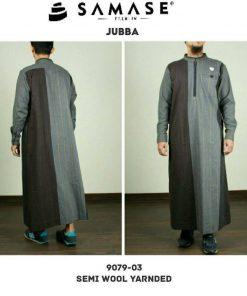 SAMASE 9079-04 JUBAH PREMIUM ABU MUDA GARIS KUNING