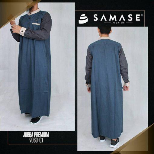 SAMASE 9060-01 JUBAH PREMIUM NAVY CREAM LGN HITAM