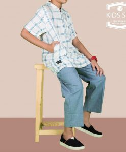 SAMASE 1566-01 KIDS SET PUTIH LIST BIRU