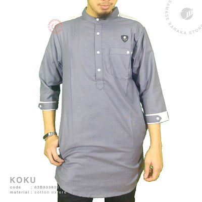 Samase koku panjang 3/4 dark grey oxford - 03b0038321