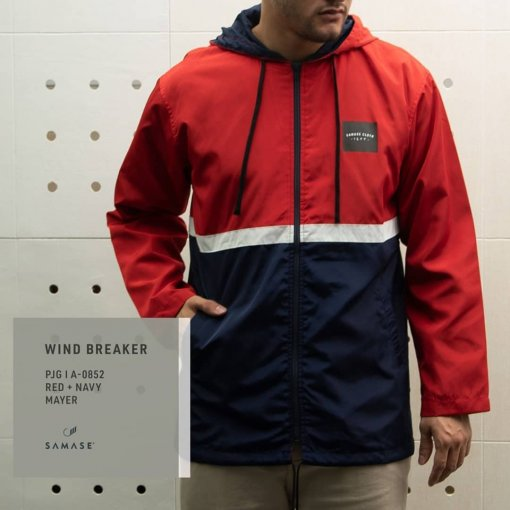 JACKET A08521 WIND BREAKER RED NAVY
