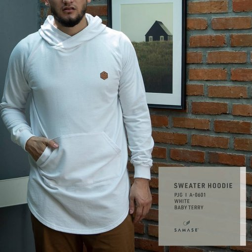 SWEATER HOODIE A06011 WHITE