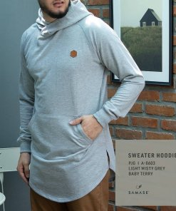 SWEATER HOODIE A06031 LIGHT MISTY GREY